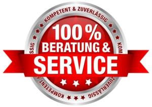 "Button Banderole ""100% Beratung & Service"" rot"